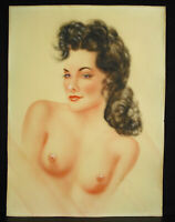 Portrait Of Naked Woman IN Bust Drawing Original IN Pastel & Gouache Circa 1950