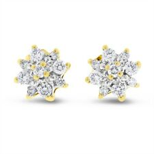 0.50 Ct. Natural Diamond Flower Stud Earrings In Solid 14k Yellow Gold