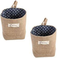 2pcs Hanging Storage Bag Cotton Linen Small Organizer Storage Basket Decor
