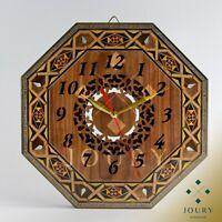 Wall Clock Handmade Mosaic Wooden Wall Clock Inlay With Mother of Pearls