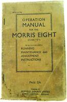 ".VINTAGE MORRIS EIGHT ""SERIES E"" OPERATION MANUAL."