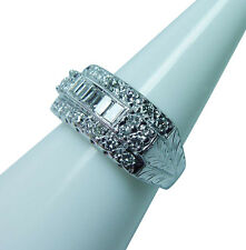 Vintage 14K White Gold Diamond Baguette Etched Ring Estate  GIA  see Video