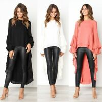 Luxury Womens Hi-Lo Fashion Blouse Tops Dress Ruffle Long Sleeve Casual Pullover
