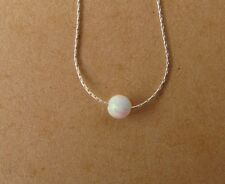 ,White opal ball necklace, bead opal 925 sterling silver bar