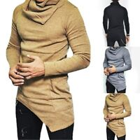 New Fashion Men's Slim Fit Irregular Long Sleeve Muscle Tee T-shirt Tops Blouse
