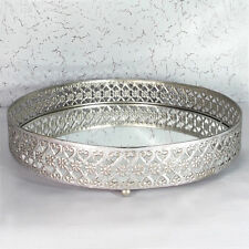 Mirrored Serving Tray Candle Display Plate Antique Silver Metal Glass 29cm Large