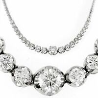 Real Diamond Graduated Tennis Necklace 7.60 ct 14k White Gold Round Cut Natural