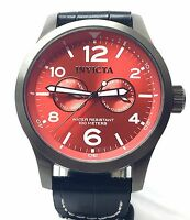 Invicta 12175 Men's Specialty Swiss Made Red Sunray Dial Black Leather Watch