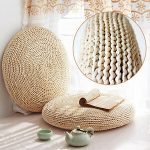 Round Straw Tatami Futon Pouf Pillow Floor Mat Meditation Yoga Seat Cushion Pad