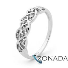 Braided Diamond 9ct 9k Solid White Gold Ring Size P 7.75 W23280