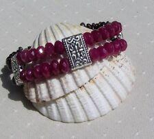 """Natural Ruby & Red Garnet Gemstone Crystal Bracelet """"Merriment"""""""