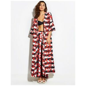 TRENDY! Sophisticated Black/ White Striped Red-Orange Floral Beach Cover up