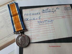 WW1 British War Medal Private Pridmore, Northampton Reg & 10th Notts & Derby