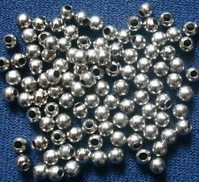 100 White gold plated metal 3mm smooth round spacer beads filler beads fpb185
