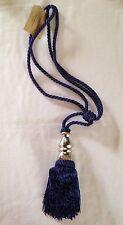 """Beautiful Heavy Blue Curtain Rope Tie Back w/ 5.5"""" Tassel & Metal Detail Tieback"""