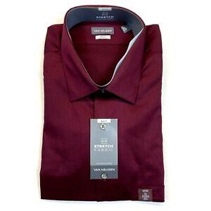 Men's Van Heusen Stretch Lux Sateen Shirt - Tigerlily - Big Fit - 2XL, 18, 34/35