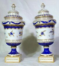 Pr Neoclassical German Porcelain Dresden Cobalt Blue Urns Gold Crescent