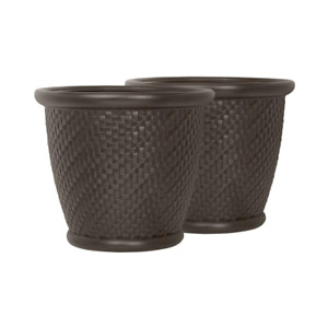 Round Java Blow Molded Resin Planter 18 in.(2-Pack)
