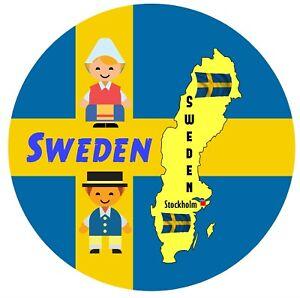 SWEDEN MAP & FLAG - SOUVENIR NOVELTY ROUND FRIDGE MAGNET / BRAND NEW / GIFTS