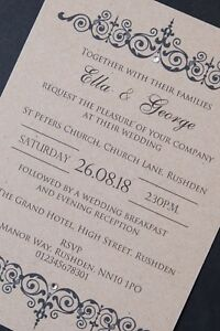 25 Handmade Wedding Invitations Day Evening Invites inc Envelopes Vintage Rustic