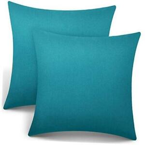 2 Pieces Decorative Outdoor Patio Balcony Waterproof Throw Pillow Blue Green