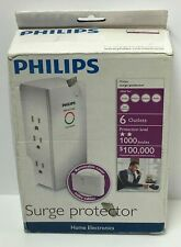 PHILIPS HOME ELECTRONICS SURGE PROTECTOR 6 OUTLETS 1000 JOULES,FREE SHIPPING