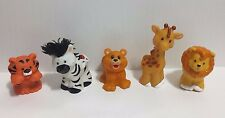 Fisher Price Little People Lot of 5 Animals Lion, Zebra, Tiger, Giraffe, Bear