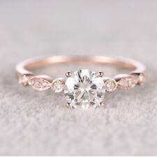 18K Rose Gold Filled White Topaz  Women Jewelry Wedding Engagement Ring Sz 5-10