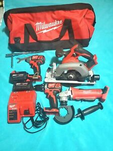 Cordless Power Tool Set Kit 4 Tool 2 Ah Batteries Charger Bags M18 Milwaukee
