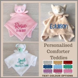 PERSONALISED COMFORTER TEDDY CUSTOM BABY GIFT BIRTH BOY GIRL PRESENT BABY SHOWER