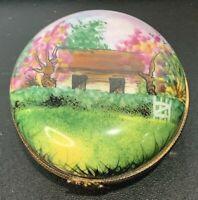 Limoges La Seynie LS France Peint Main Cabin & Trees Porcelain Trinket Box