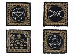 Black Altar Cloth Triple Moon Pagan Pentagram Triquetra Ouija Geometrics 60cm