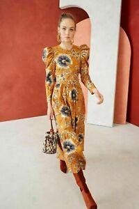 New Ulla Johnson Audelia Tiered Metallic Floral Silk Midi Dress Sz US 6