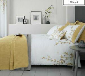 Catherine Lansfield white ochre embroidered cherry blossom king size duvet set