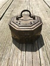 """Vintage Brass Octagon Shaped Cricket Cage Trinket Box Made in India - 3 3/4 x 2"""""""