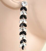 BOUCLES d'oreilles femme noires pendentifs cérémonie strass cristaux серьги F125