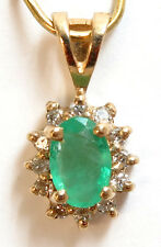 14k Solid Yellow Gold Genuine Emerald and Diamond Pendant