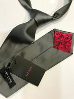 "Paul Smith Grey Silk Tie ""MAINLINE"" Classic 9cm Blade 100% Silk Made in ITALY"