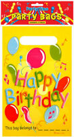 12 Happy Birthday Empty Party Bags - Toy Loot Gift Wedding/Kids Plastic