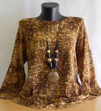 Nelly Mode Damen Shirt Viskose Rundhals 3/4 Arm Farbe Braun Größe 44