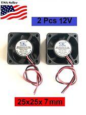 2Pcs 12V 2Pin 25mm 25x25x7mm 2.5cm 5Blade Mini Small DC Brushless Cooling Fan