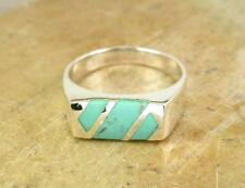 MENS STERLING SILVER REAL TURQUOISE INLAY RING size 8  style# r0728
