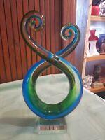 """1 Murano abstract Swirl Art Glass Sculpture Hand blown Purple, Blue, Green, 8.5"""""""