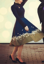 Damen Ted Baker Blumenmuster Kleid Lotis Midi Strick Rüschen Ärmel Party 6 - 16