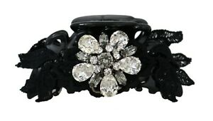 DOLCE & GABBANA Hair Claw Black Silk Clear Gray Crystal Lace Accessory RRP $450