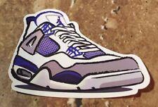 Nike Air Jordan Retro 4 IV White/Neutral Grey-Military Blue Sticker