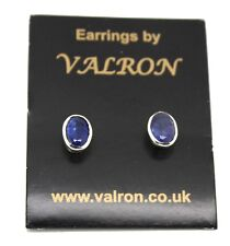 Sterling Silver and Natural Tanzanite Oval Stud Earring