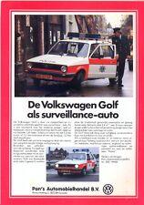 Volkswagen Golf Mk 1 Police cars sales brochure / leaflet Dutch market