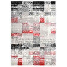 vidaXL Vloerkleed 140x200 cm PP Grijs en Rood Tapijt Vloertapijt Karpet Kleed
