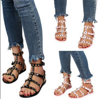 Women's Summer Rivet Sandals Flat Gladiator Casual Soft Buckle Shoes Slippers